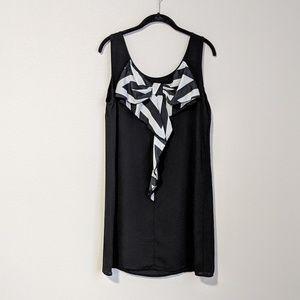 Black Dress with White & Black Bow Detail on Back